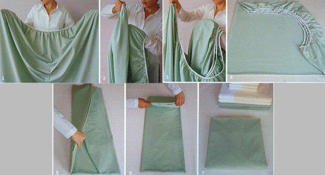 Imagem ilustrativa de como dobrar um lençol de elástico. Foto: Pinterest